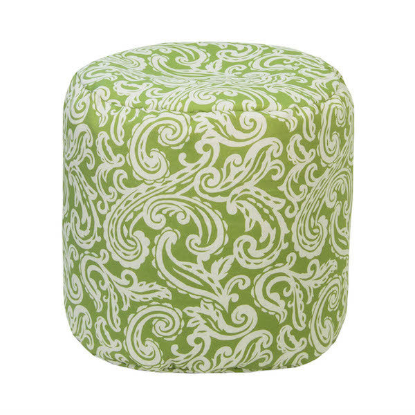 Outdoor Ottoman or Poof Colima Pattern in Verde Green