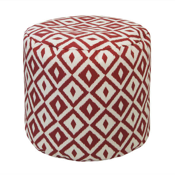 Outdoor Ottoman or Poof Aztec Pattern in Chili Red