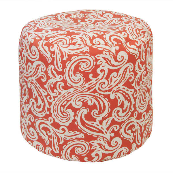 Outdoor Ottoman or Poof Colima Pattern in Coral