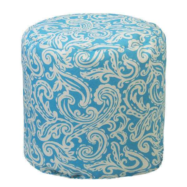 Outdoor Ottoman or Poof Colima Pattern in Capri Blue