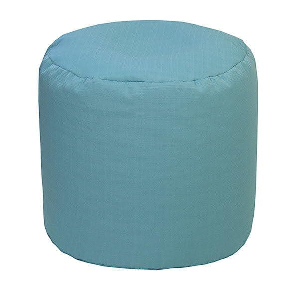 Outdoor Ottoman or Poof Solid Capri Blue
