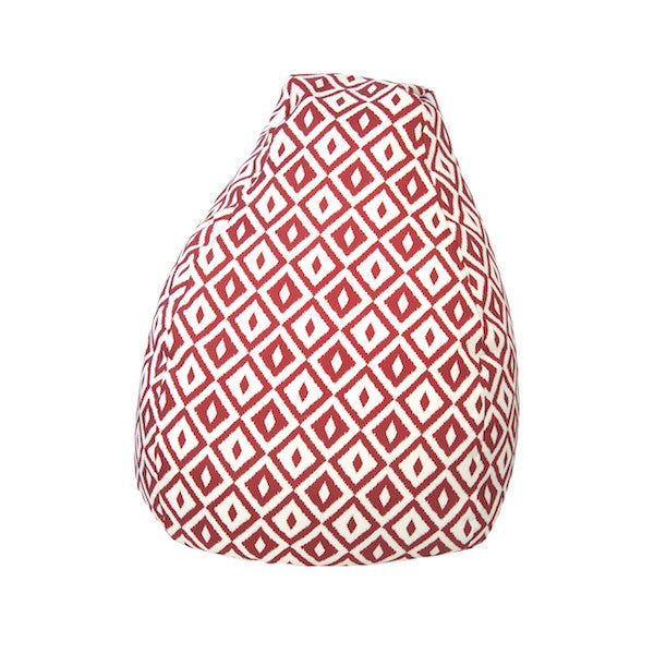 Outdoor Bean Bag Aztec Pattern in Chili Red