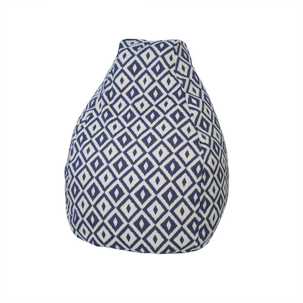 Outdoor Bean Bag Aztec Pattern in Denim Blue