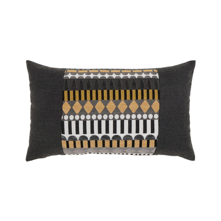 Golden Deco Outdoor Lumbar Pillow by Elaine Smith