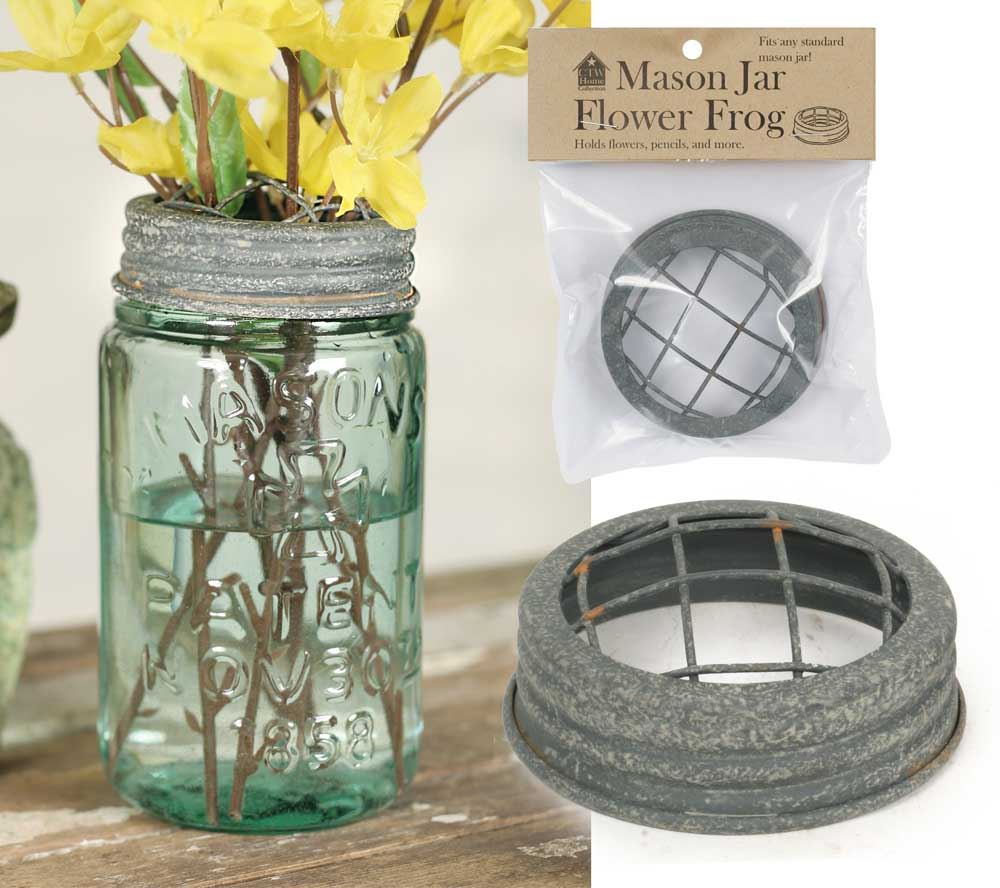 Mason Jar Flower Frog Lid - Barn Roof | Set of 6
