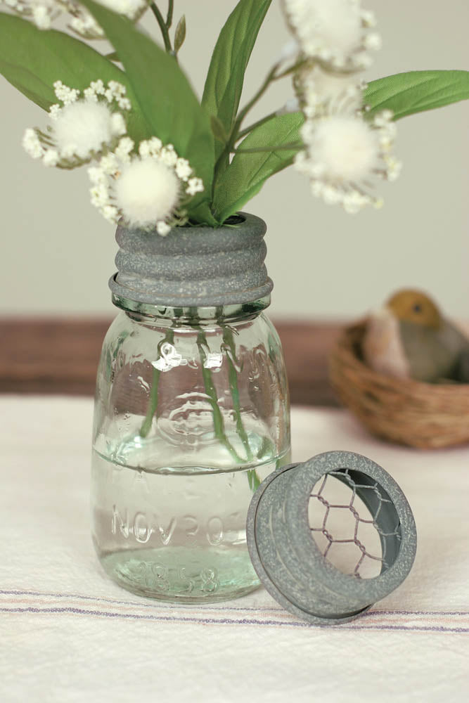 ¼ Pint Mason Jar Flower Frog | Set of 4