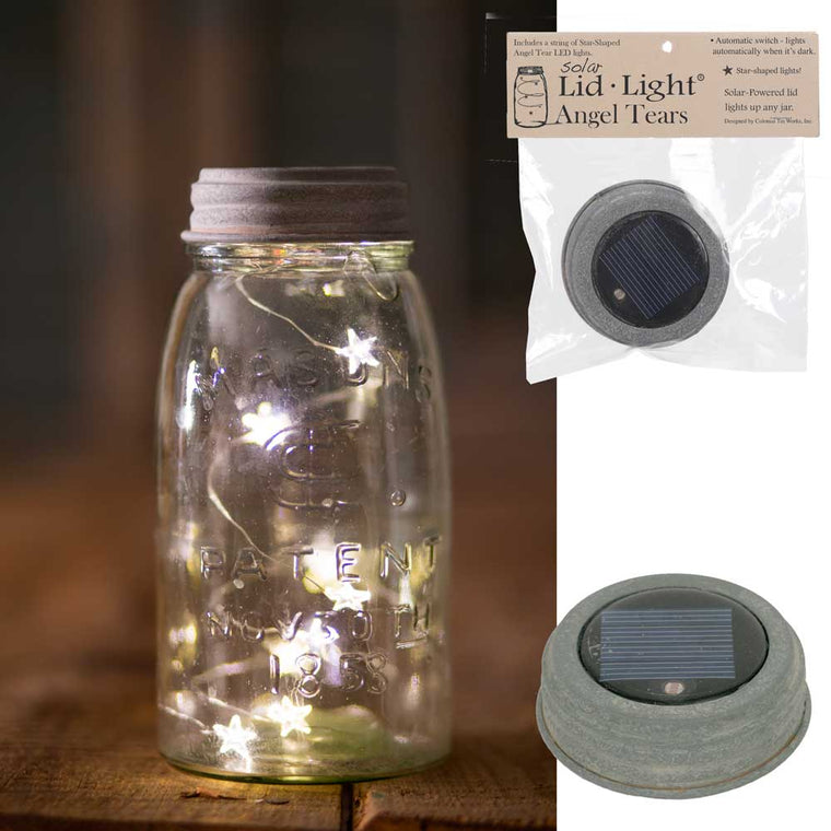 Solar Lid-Light - Star Shape Angel Tears - Barn Roof | Set of 4 Lids