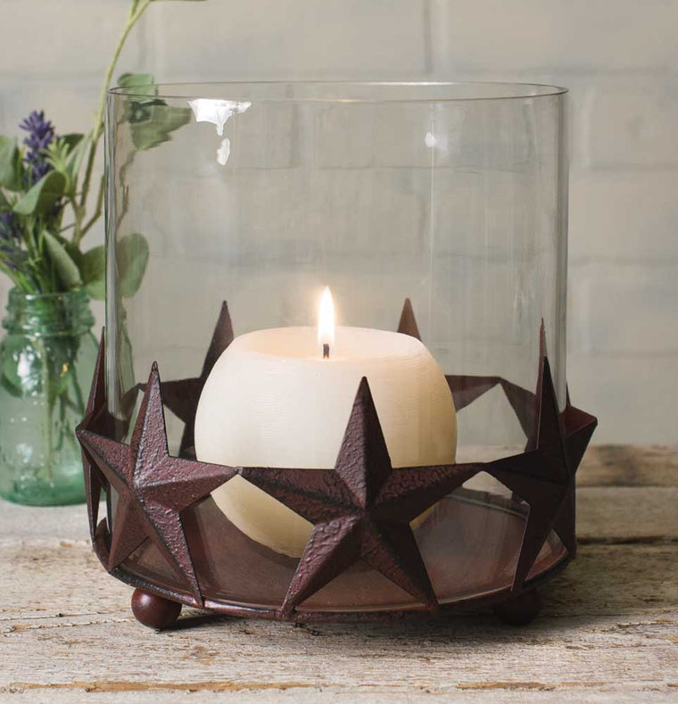 Barn Star Pillar Holder With Glass Chimney - Rustic Brown