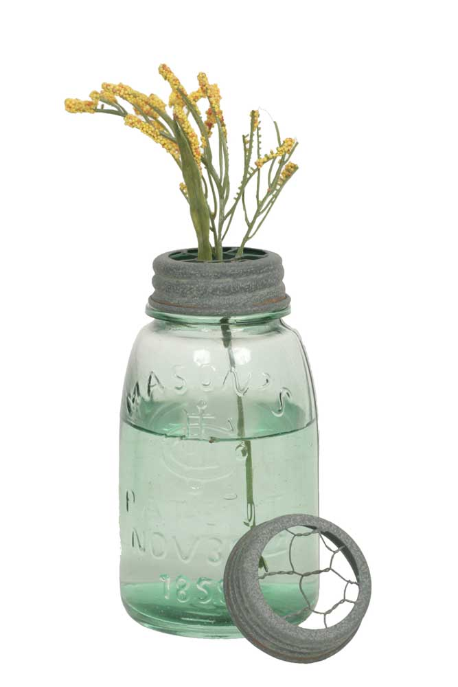 Midget Pint Mason Jar with Chicken Wire Flower Frog - Barn Roof | Set of 4