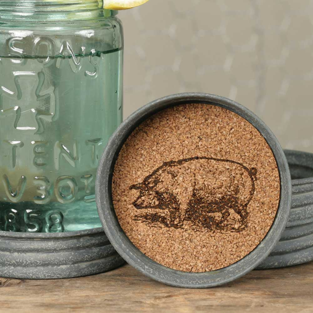 Mason Jar Lid Coaster  - Pig | Set of 4