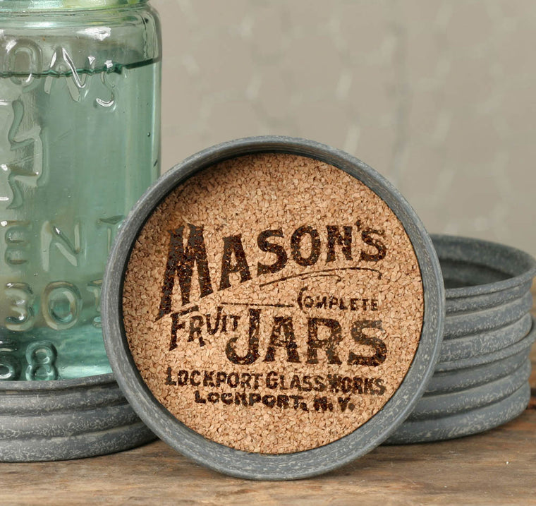 Mason Jar Lid Coaster -  Mason Jars Logo | Set of 4