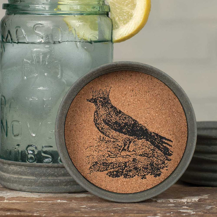 Mason Jar Lid Coaster  - Crow with Crown | Set of 4