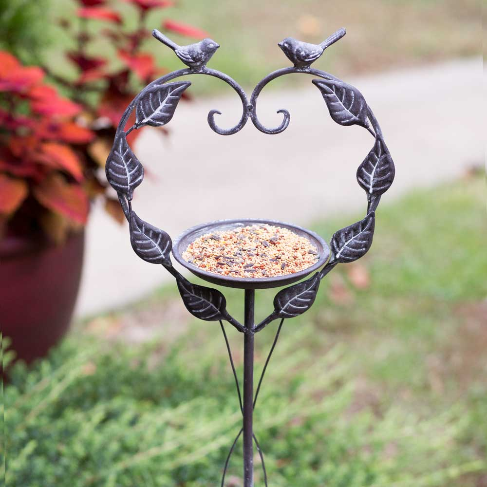 Love Birds Garden Stake Bird Feeder