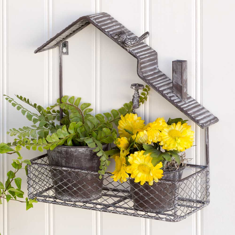 Open House Garden Shelf with Two Planters
