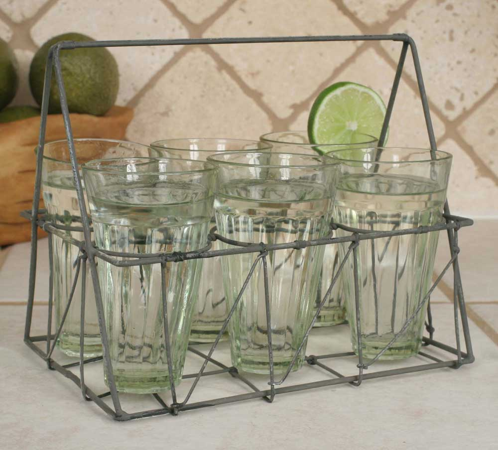 Rectangular Wire Caddy with Six Glasses - Galvanized