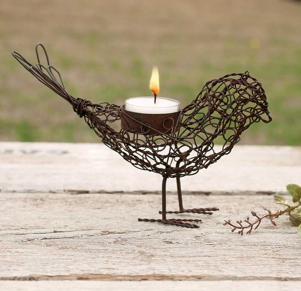 Wire Bird Tea Light Holder