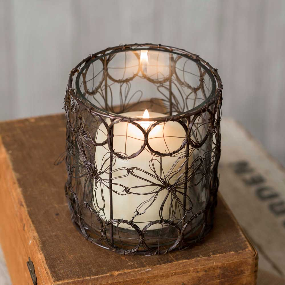 Daisies Wire Candle Holder with Glass | Set of 4