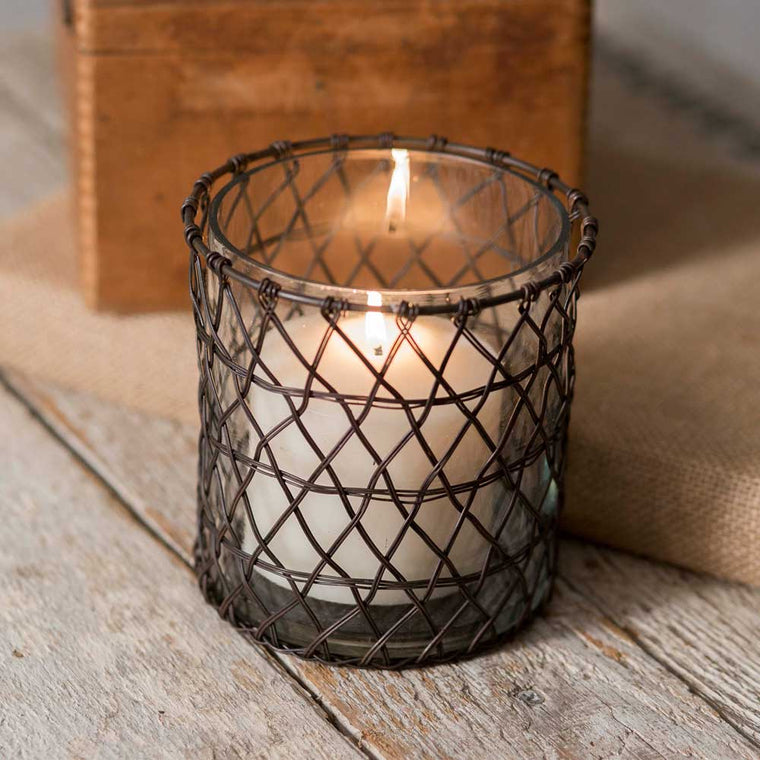 Harriett Wire Candle Holder with Glass | Set of 4