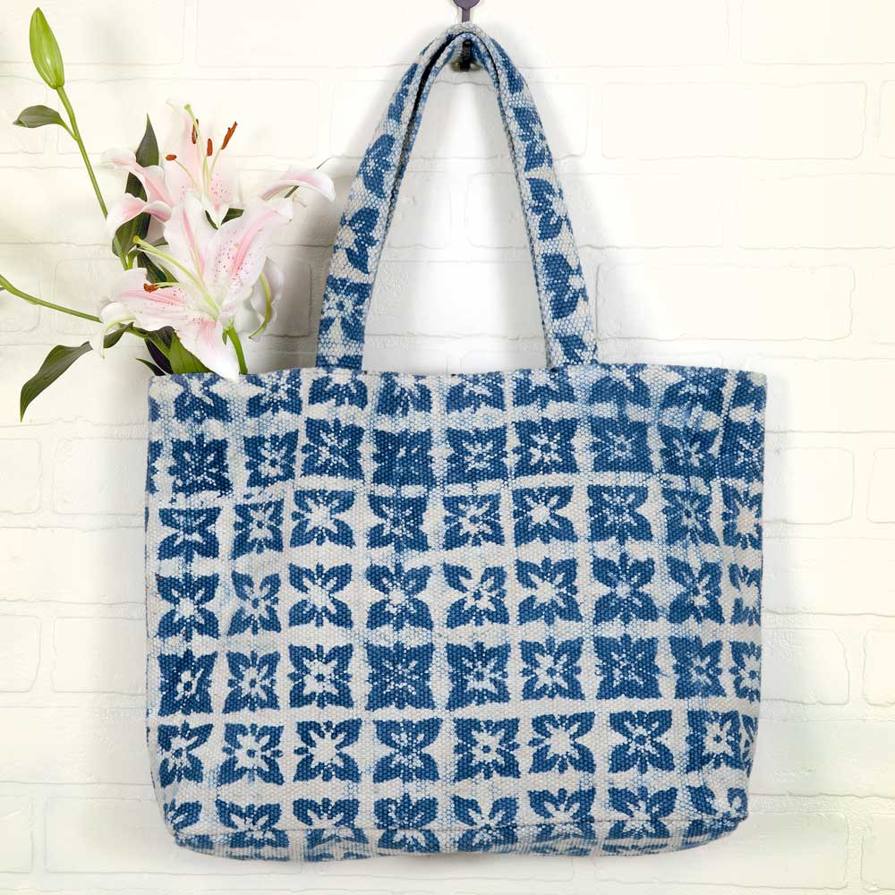 Blue Block-Printed Bag
