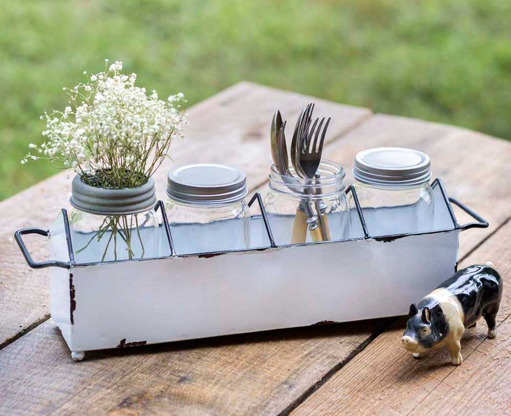 Kitchen Caddy with Four Glass Jars