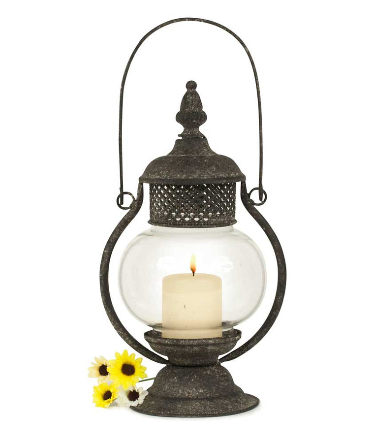 Sepia Candle Lantern with Chimney