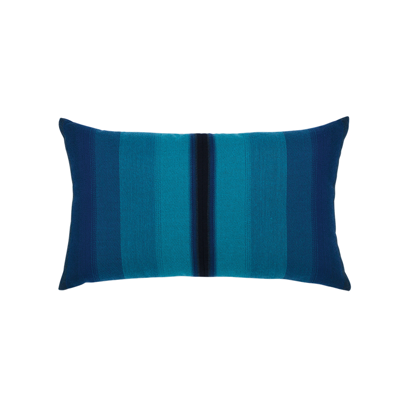 "Ombre Azure and Navy Outdoor Pillow 12""x20"""