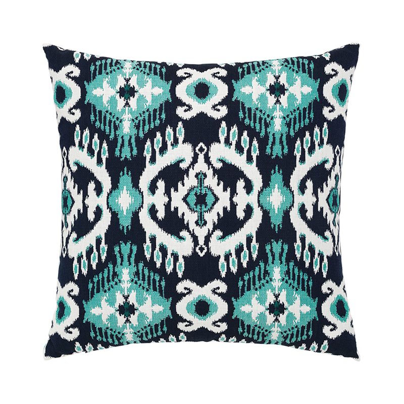 "Patras Ikat Elaine Smith Outdoor Pillow Navy and Aruba 22""x22"""