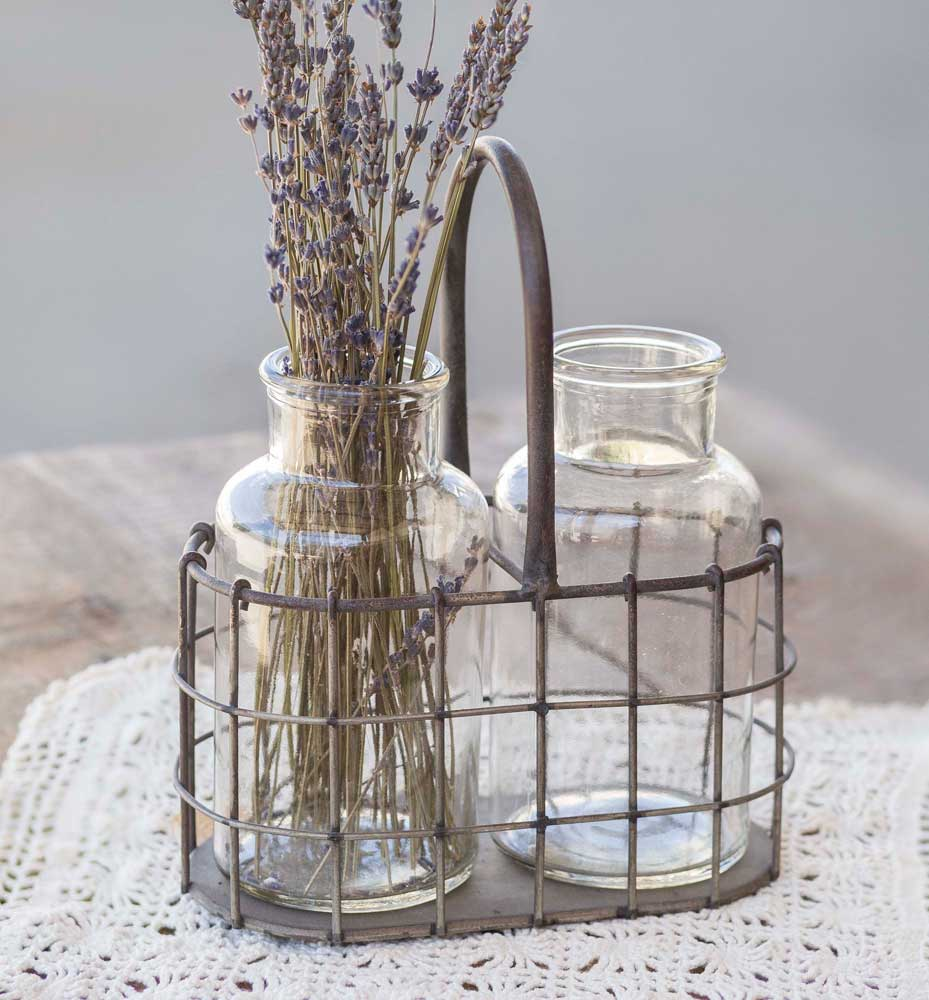 Farmhouse Caddy with Two Glass Bottles