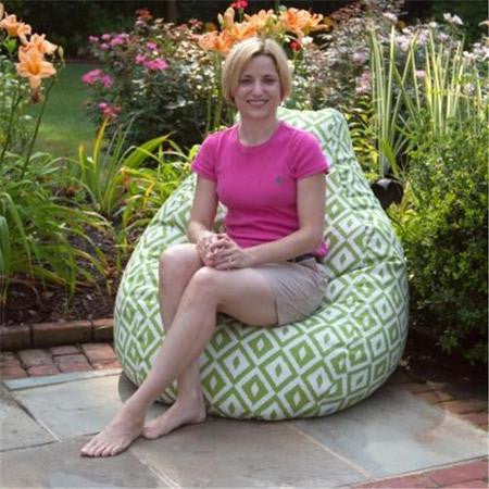 Outdoor bean bag in aztec verde with model