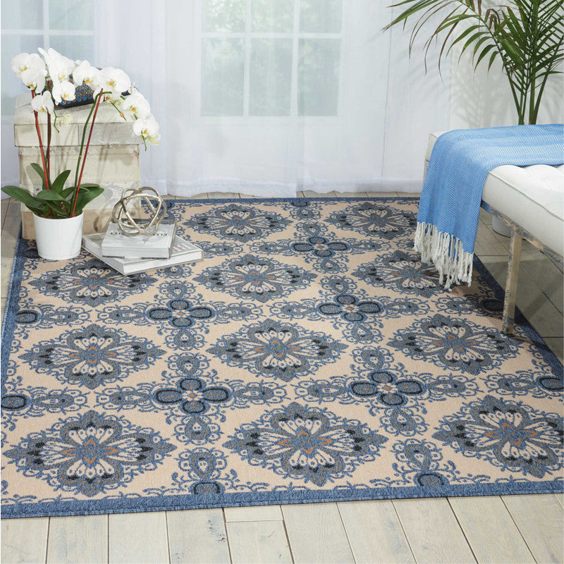 Cayman Rug Blue and Ivory