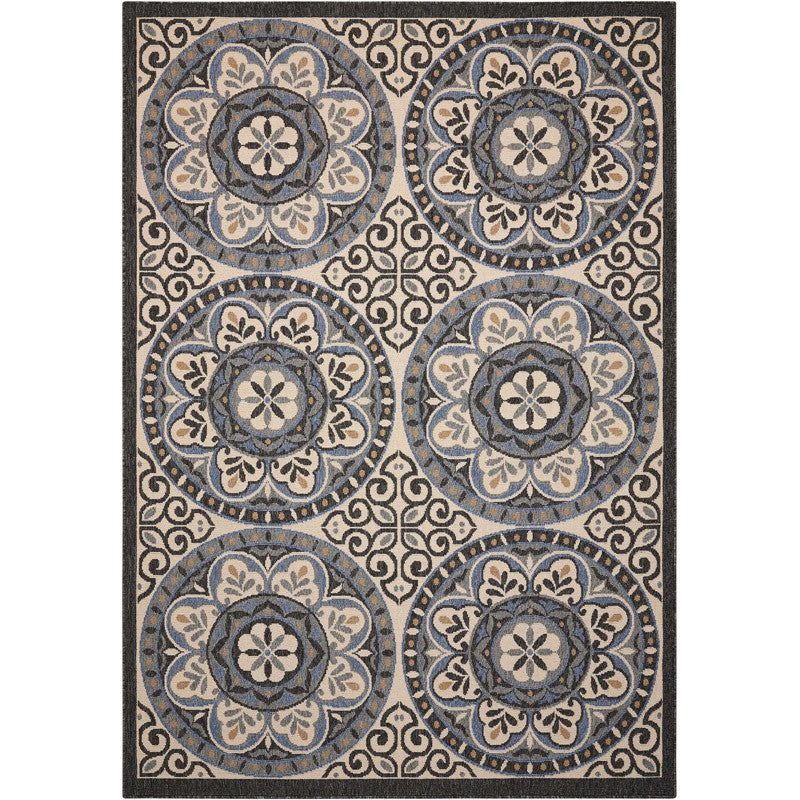 Barbados Indoor/Outdoor Rug Ivory and Charcoal