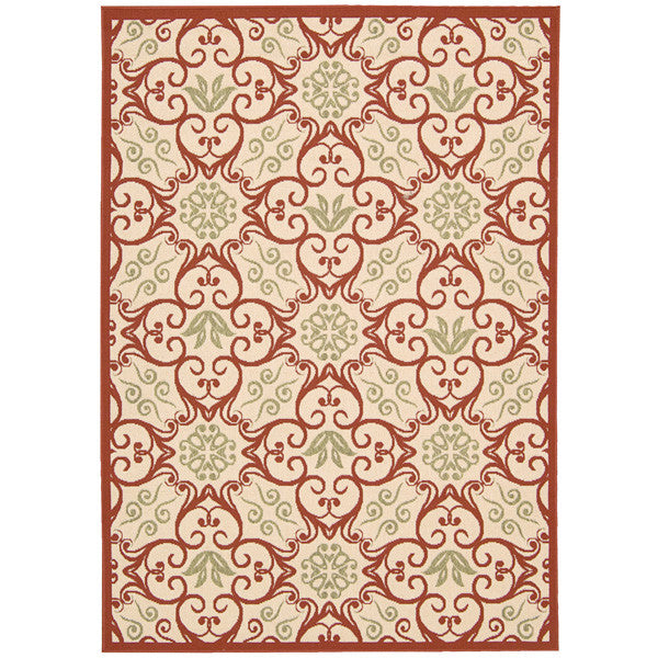 Martinique Outdoor Rug in Ivory and Rust