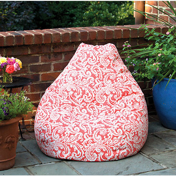 Colima coral outdoor beanbag on a patio