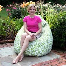 Colima verde outdoor beanbag with model