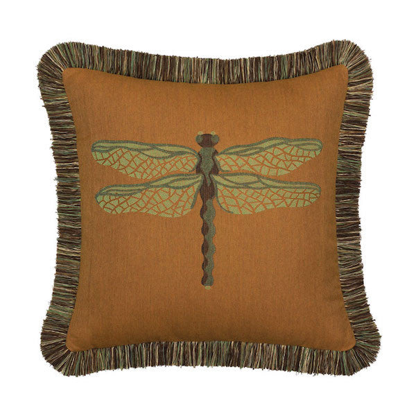Elaine Smith Outdoor Dragonfly Pillow Nutmeg and Green