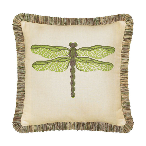 Elaine Smith Outdoor Dragonfly Pillow Peridot Green