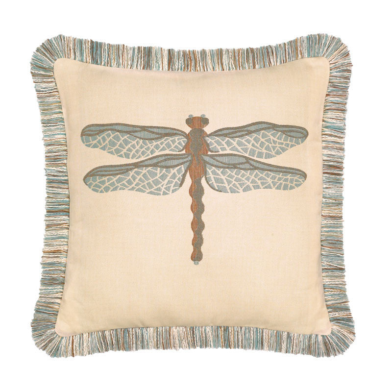 Elaine Smith Outdoor Dragonfly Pillow Spa Blue