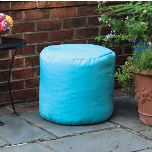 Outdoor Ottoman or Poof Solid Capri Blue on Patio