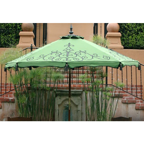 Hand-pinted Alice patio umbrella in Macaw