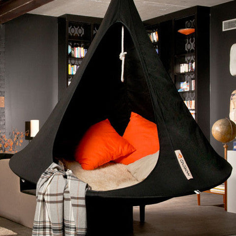 Cacoon Double Black hanging in a contemporary living room