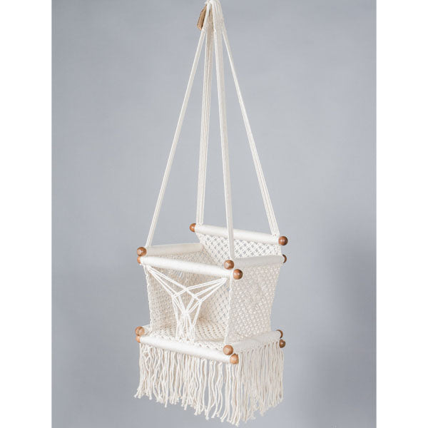 Macrame baby swing chair handmade in cream cotton