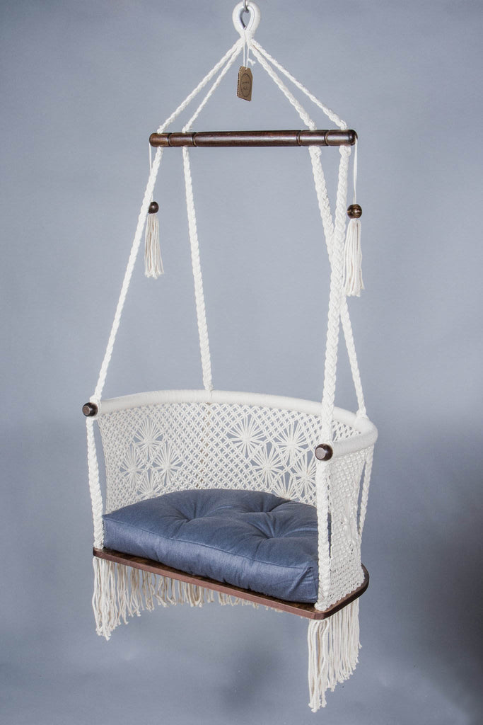 Handmade Macrame Hanging Chair, Dark Wood | Cream