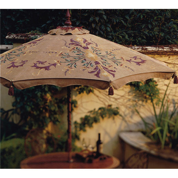 Hand-painted Florence patio umbrella in Antique Beige with custom paint