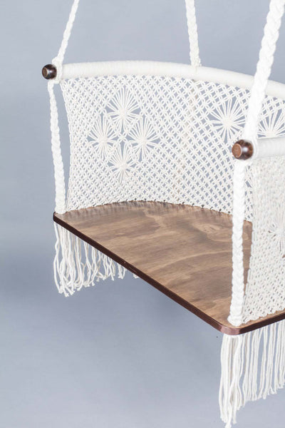 Handmade Macrame Hanging Chair Dark Wood Cream