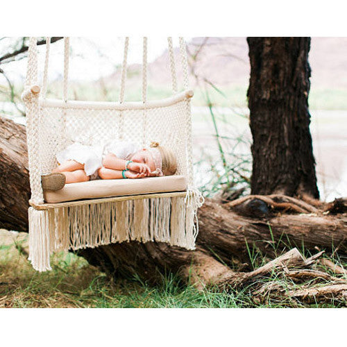 Hand-woven Macrame Hanging Chair outdoors, Cream