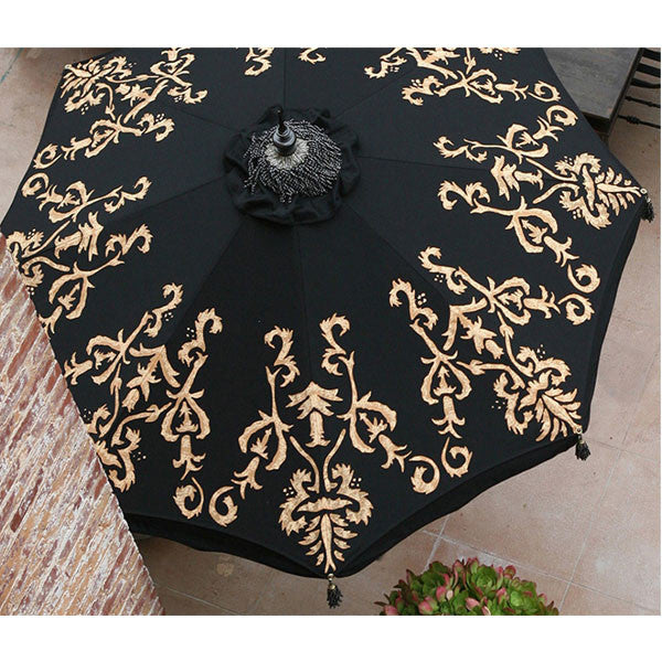 Arial view of hand-painted Isabel patio umbrella in black