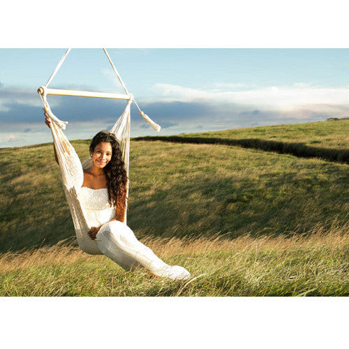 "Handmade Carribean-Style ""T"" Hanging Chair, Cream"