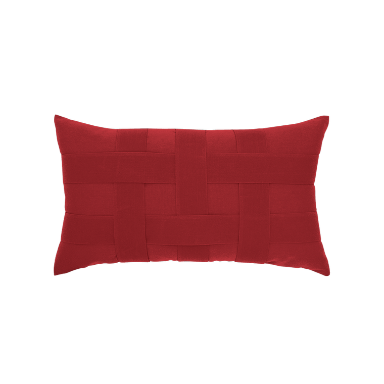 Basketweave Rouge Lumbar Indoor/ Outdoor Pillow Elaine Smith
