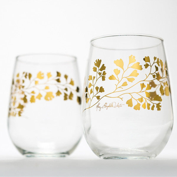 Stemless wine glasses with gold maidenhair fern design