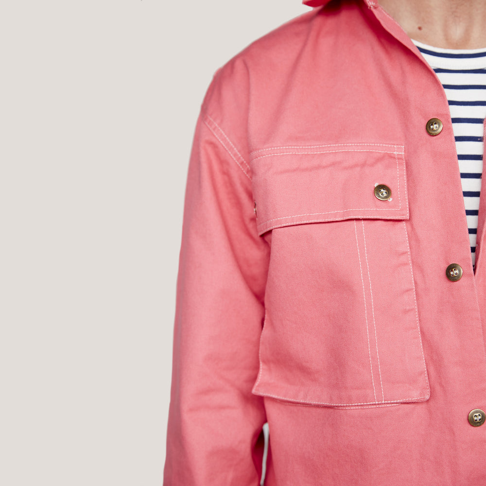 Salmon Pink Shirt Jacket MADE IN ENGLAND